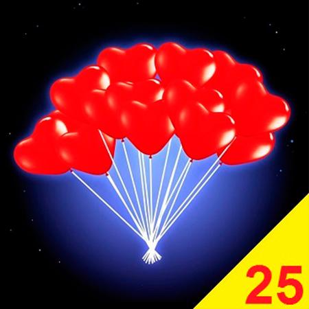 Купить гелиевые воздушные шары в виде сердца 25 штук