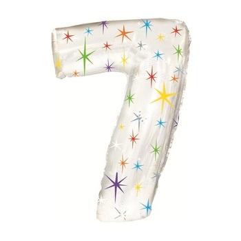 Цифра 7 из фольги блестящая белая