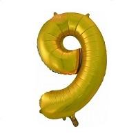 Купить фольгированную золотую цифру девять на день рождение в интернет-магазине Шары-и-Шарики.ру