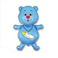 """Купить фольгированный шар к выписке """"Медвежонок-мальчик синий 91 см""""  в интернет-магазине Шары-и-Шарики.ру"""