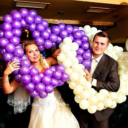 два сердца из шаров на свадьбу