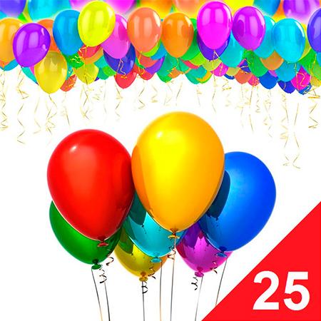 25 воздушных гелевых шаров с доставкой дешево по Москве