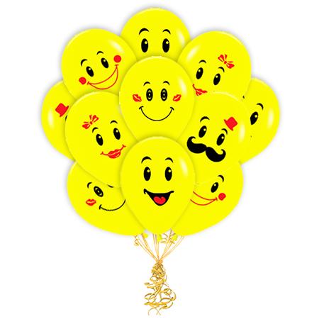 Доставка воздушных шаров смайлов с гелием