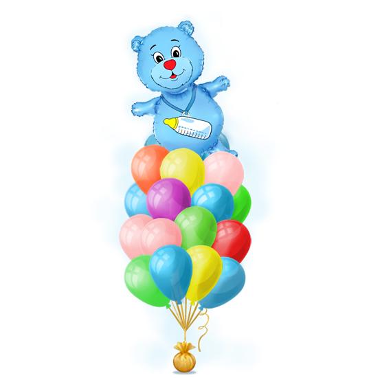 Оформление квартиры как памятный подарок на встречу сына из роддома набором шаров для мальчика Голубой медвежонок