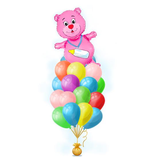 Наборы шаров с различными символами на выписку девочки - Розовый медвежонок