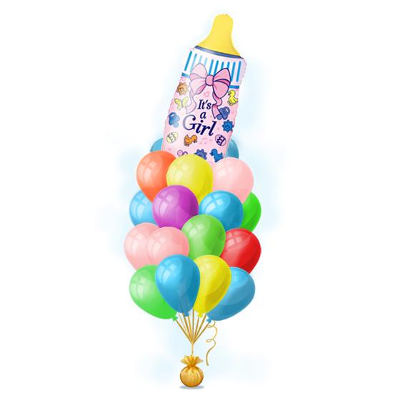 Набор воздушных шариков с гелием для новорожденной девочки на выписку - Бутылочка розовая