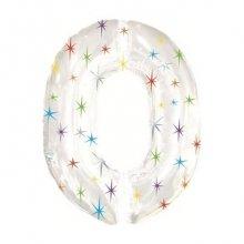 Цифра 0 из фольги белая со звёздочками