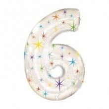Цифра 6 из фольги с гелием