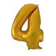 Фольгированная золотая цифра четыре