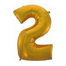 Фольгированная золотая цифра два