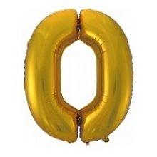 Фольгированная золотая цифра ноль