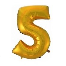 Фольгированная золотая цифра пять