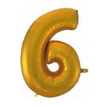 Фольгированная золотая цифра шесть