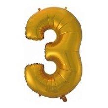 Фольгированная золотая цифра три
