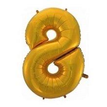 Фольгированная золотая цифра восемь