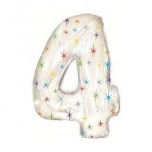 Фольгированный шар цифра 4 белая со звездочками