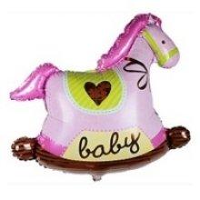 Лошадка-качалка розовая