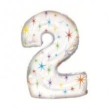 Объемный шар с гелием в виде цифры 2