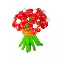 Букет Красные ромашки из длинных шариков