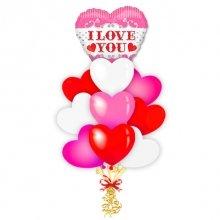 Букет разноцветных воздушных сердец