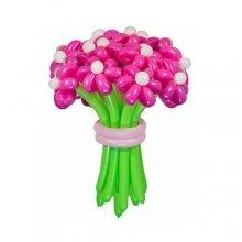 Букет Розовые ромашки шарики в виде цветов