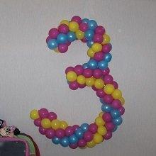 Цифра 3 из шариков на день рождения