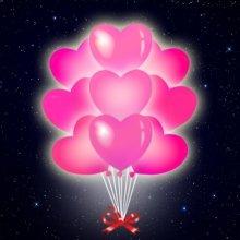 Розовые сердца со светодиодами