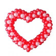 Сердце из шаров с белыми точками