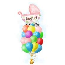 Связка шариков на выписку – Розовая коляска девочка